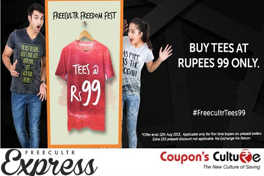 #‎FreecultrTees99‬ Buy Men & Women Tees at Flat Rs. 99. Offer valid for today only. ‪#‎Shop‬ Now