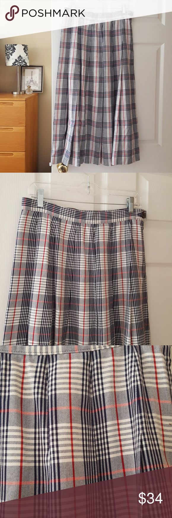 """FREE SHIPPING! pendleton vintage plaid midi skirt Waist: 15"""" laying flat Length: 34"""" 100% rayon Smoke-free home Excellent used condition Made in USA   -Reasonable offers welcome, but prices are firm on items under $10.  -No trades, please.  Thank you for shopping my closet, it means a lot to me! Pendleton Skirts Midi"""