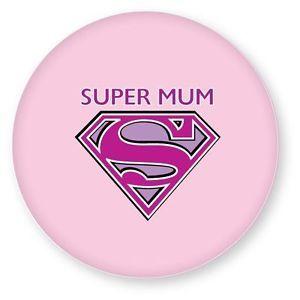 Super Mum Mothers Day Gift Pink Superman Symbol Superhero Button Pin Badge 38mm
