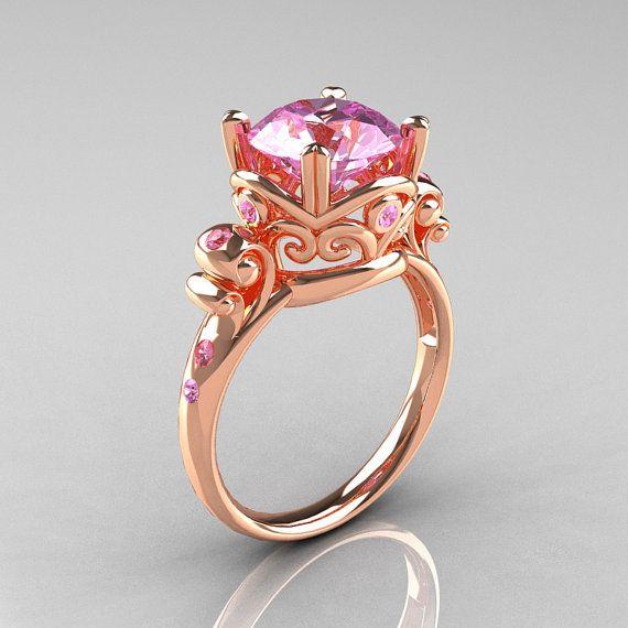 Modern Vintage 14K Rose Gold 2.5 Ct Light Pink by artmasters, $949.00
