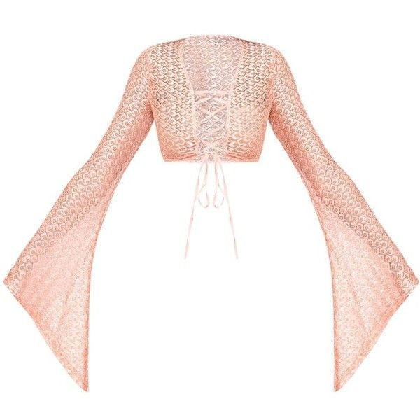 Nude Metallic Crochet Lace Up Flare Sleeve Crop Top ($35) ❤ liked on Polyvore featuring tops, flared sleeve crop top, cut-out crop tops, metallic crop top, cropped tops and white crop tops