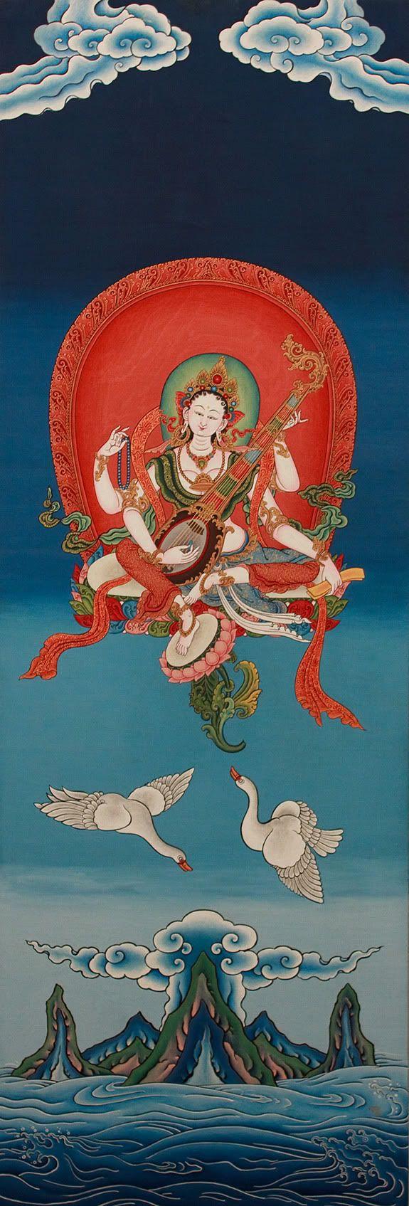 #Sarasvati #tibetan #thangka