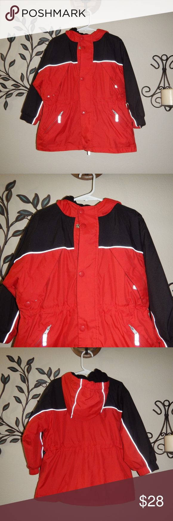 Hanna Andersson Boys Winter Jacket Hanna Andersson Boys Red Black Winter Hooded Jacket Size 100 Boys size 4 Fleece lined with reflective piping Hanna Andersson Jackets & Coats