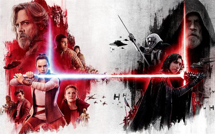 Download wallpapers Star Wars, The Last Jedi, 2017, poster, all actors, Daisy Ridley, Mark Hamill, Carrie Fisher, John Boyega, Adam Driver