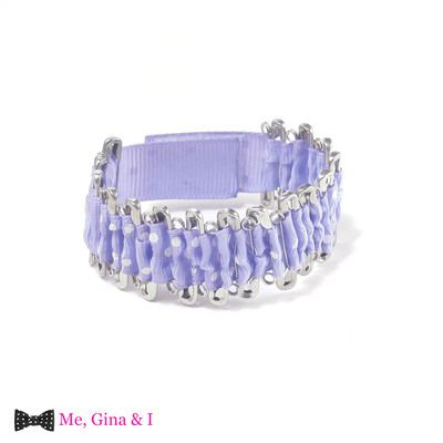 Lilac dot safety pin bracelet.