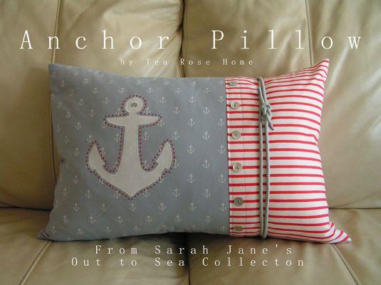 "Out to Sea ""Anchor Pillow"" tutorial with anchor applique template"