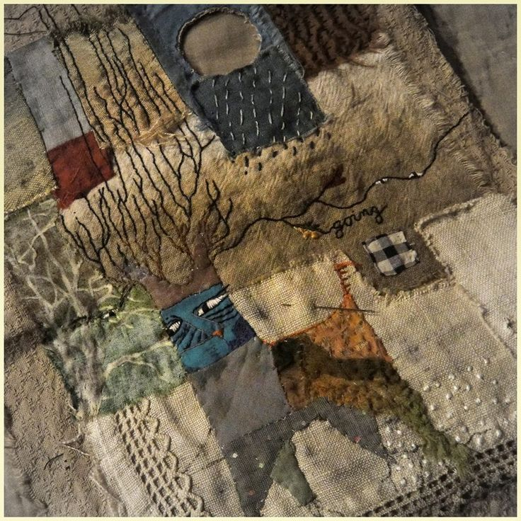 Jude Hill is much beloved in our textile community. Her kindness and gentle spirit embeds itself in cloth, Spirit Cloth. Primitive and folk art overtones.