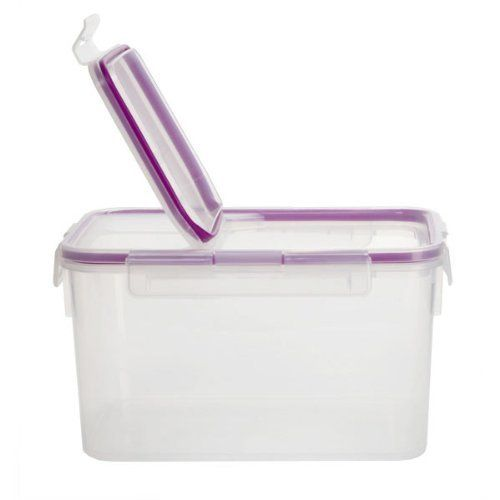 "10.8-cup Rectangle Airtight Food Storage Container by Snapware. $13.74. Snap lock lid with silicone seal opens and shuts easily. 8.5"" x 6.25"" x 4.5"". Remove and wash gasket before use to optimize seal. 10.8-cup (2.5L) Rectangle Airtight Plastic Food Storage Container with Fliptop Lid. Snapware® Airtight Plastic Food Container is 100% airtight and leak-proof. Its easy open-and-close four latch lid keeps food fresh. And its stackable design is convenient and space-s..."