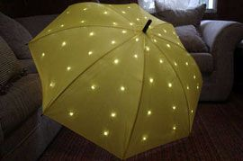 DIY- LED umbrella brings sunshine to a dismal day. Step by step directions on Instructables.  via talk2myShirt  (august 2009) #LED #DIY