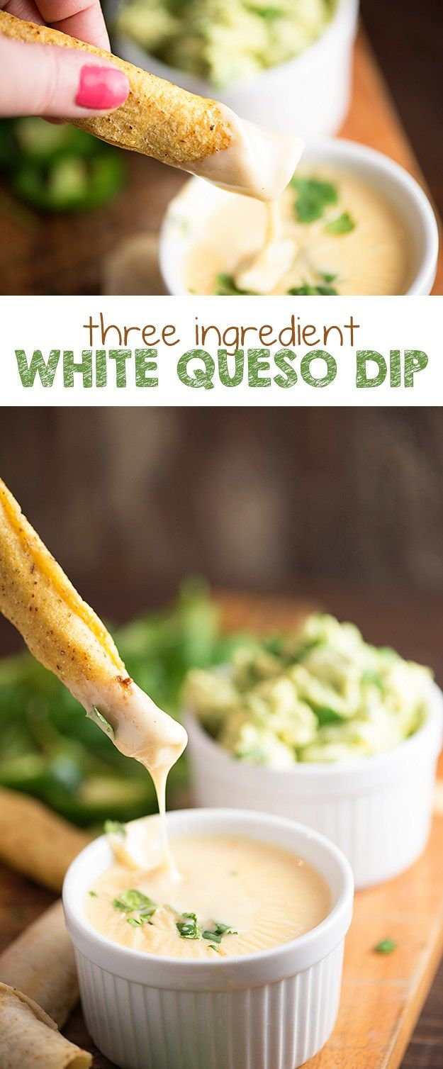 Three Ingredient White Queso Dip - Just three ingredients and NO VELVEETA! My kids agree that this white cheese dip tastes just like the kind from our favorite Mexican restaurant!