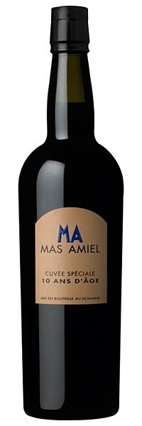 Mas Amiel 10 Years Old - Lustrous mahogany colour with an expressive and enchanting bouquet of roasted coffee, cedar and baked cherries, seasoned with bright mint. The indulgent palate is of powdered cocoa, walnut and liquorice. Long, mellow finish.   Drink with roast venison and red berries, chocolate mousse, truffles and foie gras on toast, or just on its own after dinner. Best if decanted an hour before use.  16.5% ABV