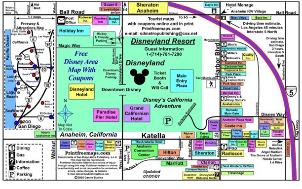 Anaheim Map, Disneyland Area Map, Downtown Disney Map