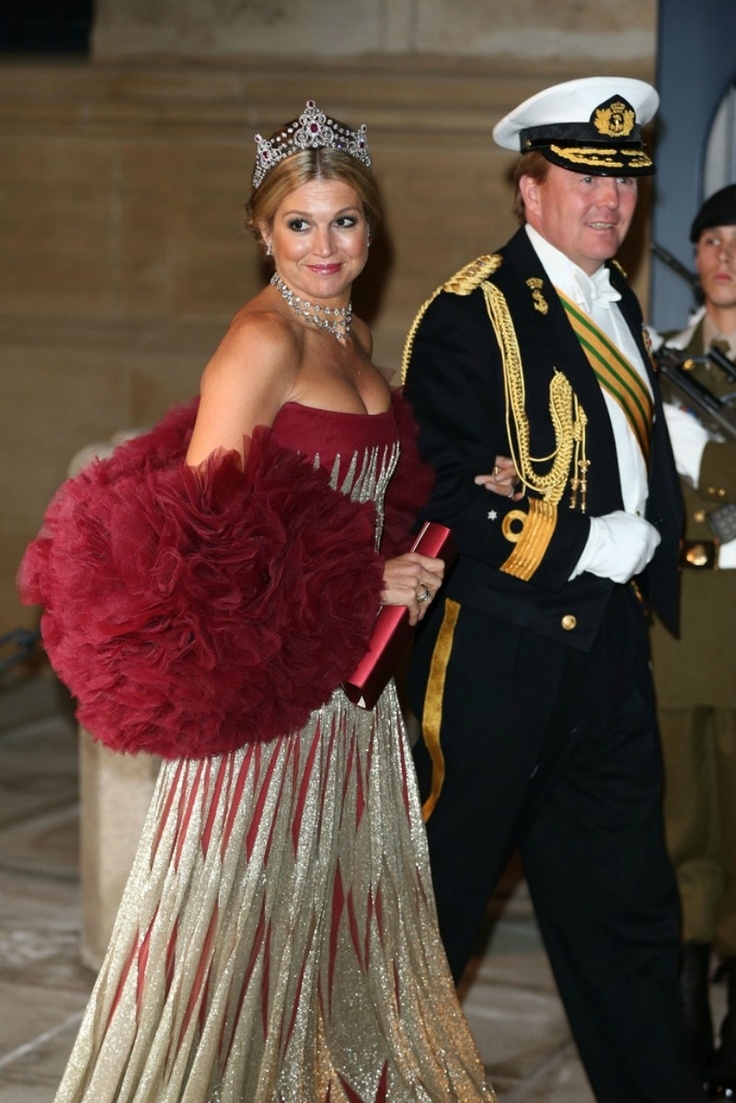 Prince & Princess of Orange at gala dinner on the occasion of the civil wedding of Grand Duke Guillaume and Princess Stephanie at the Grand-Ducal palace in Luxembourg