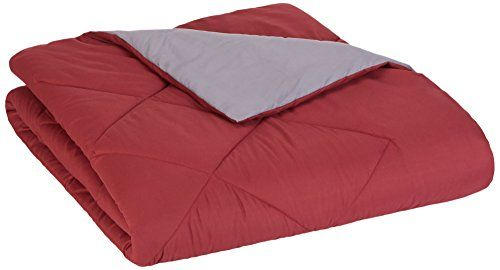 AmazonBasics Reversible Microfiber Comforter - Full/Queen, Burgundy  Full/Queen comforter. Measures 86 x 92 inches  Reversible; burgundy on one side and grey on the other  Diamond stitching helps keep fill in place  Easy to care for: machine wash warm on permanent press cycle  Made in OEKO-TEX Standard 100 factory, an independent certification system that ensures textiles meet high safety and environmental standards.