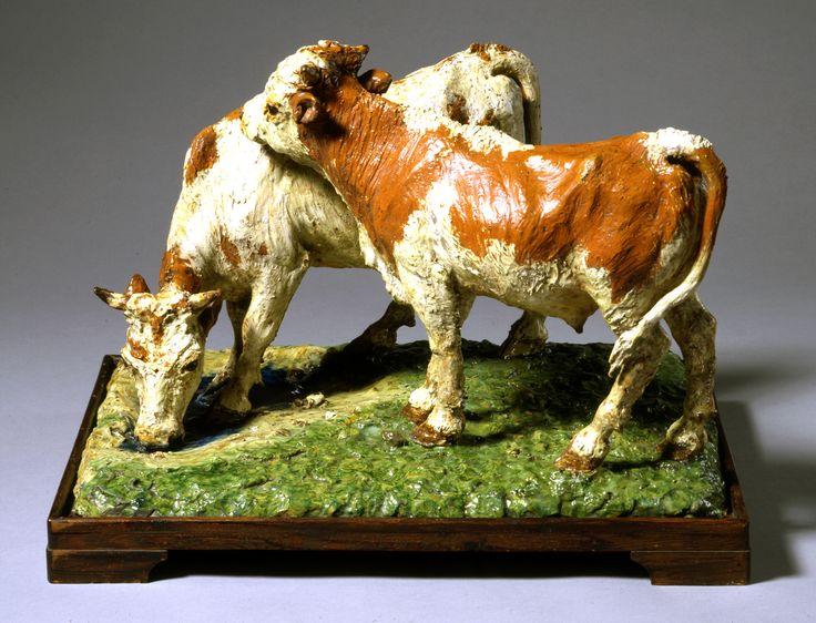 Davids Samling Theodor Philipsen (1840-1920) En kvie og en tyrekalv Glaseret lertøj H: 37; B: 60,5; D: 45,7 cm Inv. nr. B 35