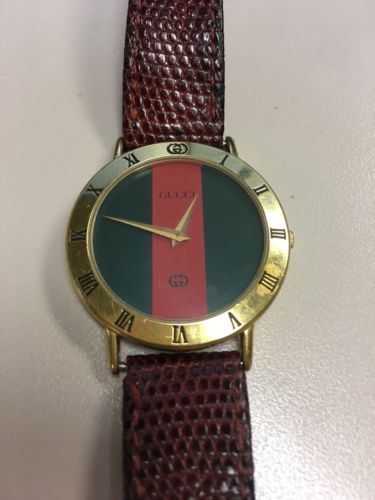 864d342ef41 Gucci 3000M 18 KGP Men s Women s Watch with Red and Green Dial