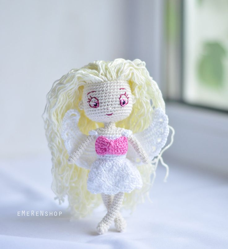 Angel  girl amigurumi doll plush - Christmas Ornament - Christmas decoration Table top Xmas Tree ornament - Christmas Gift READY TO SHIP by EMERENstore on Etsy