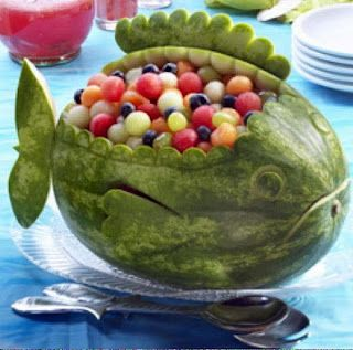 #Watermelon bowl/basket carving. Fish. Whale. Art. Inspiration. Fruit Salad. #Summer