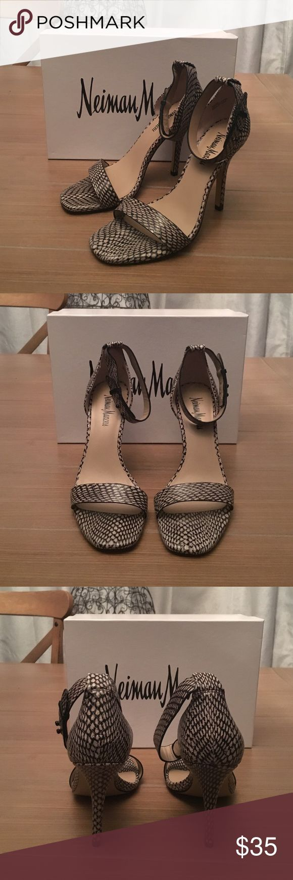 "Neiman Marcus Snake Skin Heeled Sandals Size 8 Neiman Marcus Snake 🐍 Skin Strapped Heeled Sandals Sz 8. New with box and never worn. Heel stands about 4.25"" tall. Neiman Marcus Shoes Sandals"