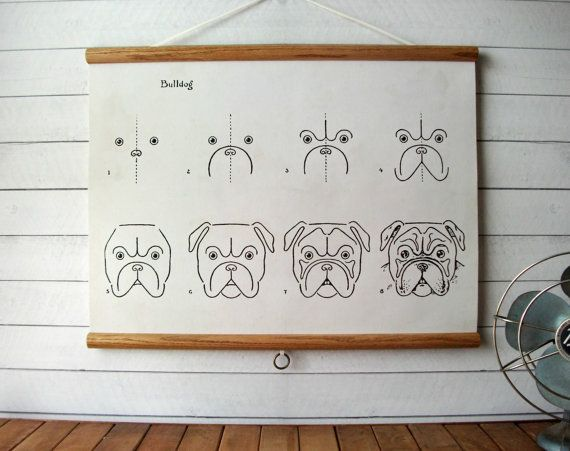 "SALE Canvas Vintage Pull Down Style School Chart with Oak Wood Trim  - How to Draw Bulldogs (24""x18"")"