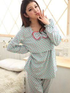 Blue Polka Dot Bow Cotton Maternity Sleepwear
