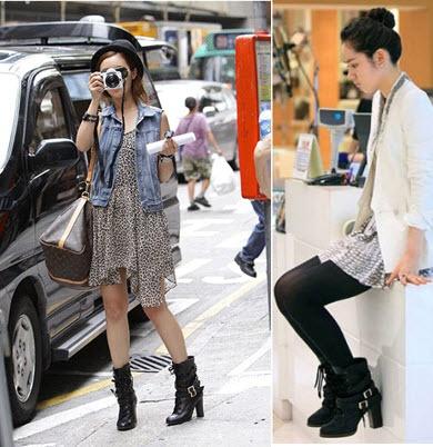 這雙靴子這樣搭很好看耶~~~~先蒐集起來的,秋天上身可以穿長版西外+會飄逸的洋裝,夏天上身可以穿牛仔背心。