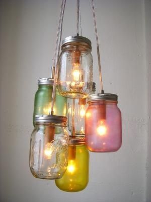 Mason Jar Chandelier- Micah broke mama's chandelier, so we're making her this! without the colours and with a more random assortment of jar sizes.
