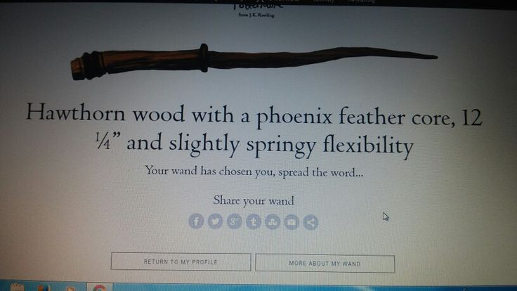 So signed up for pottermore,and did a test to see which wand i would get..this is the result by:kalie
