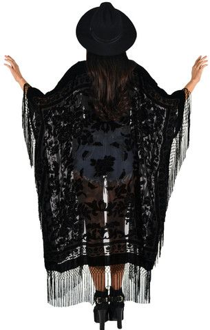 Floral Brocade Fringe Kimono - Black - Saltwater Gypsy