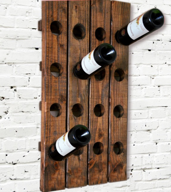 Could DIY With Pallets. Wine Rack Riddling Rack Wood Wall Hanging (Walnut).