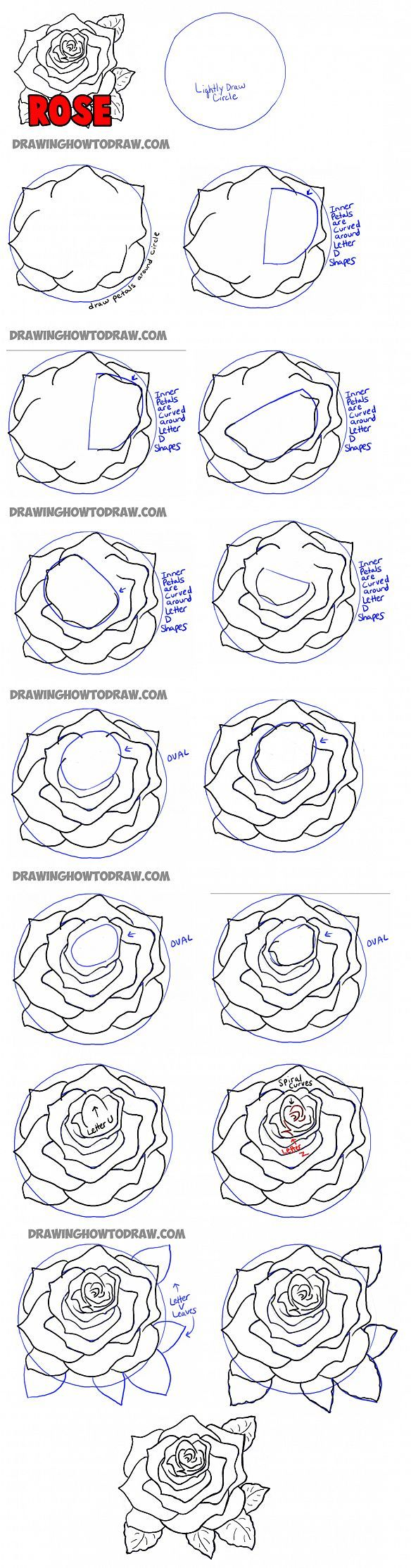 How To Draw Roses Step By Step