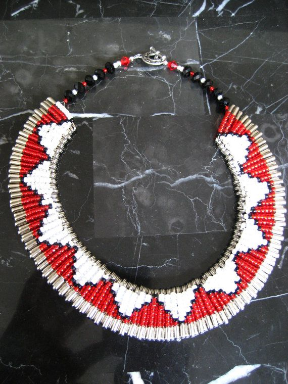Safety Pin Beaded Collar Necklace