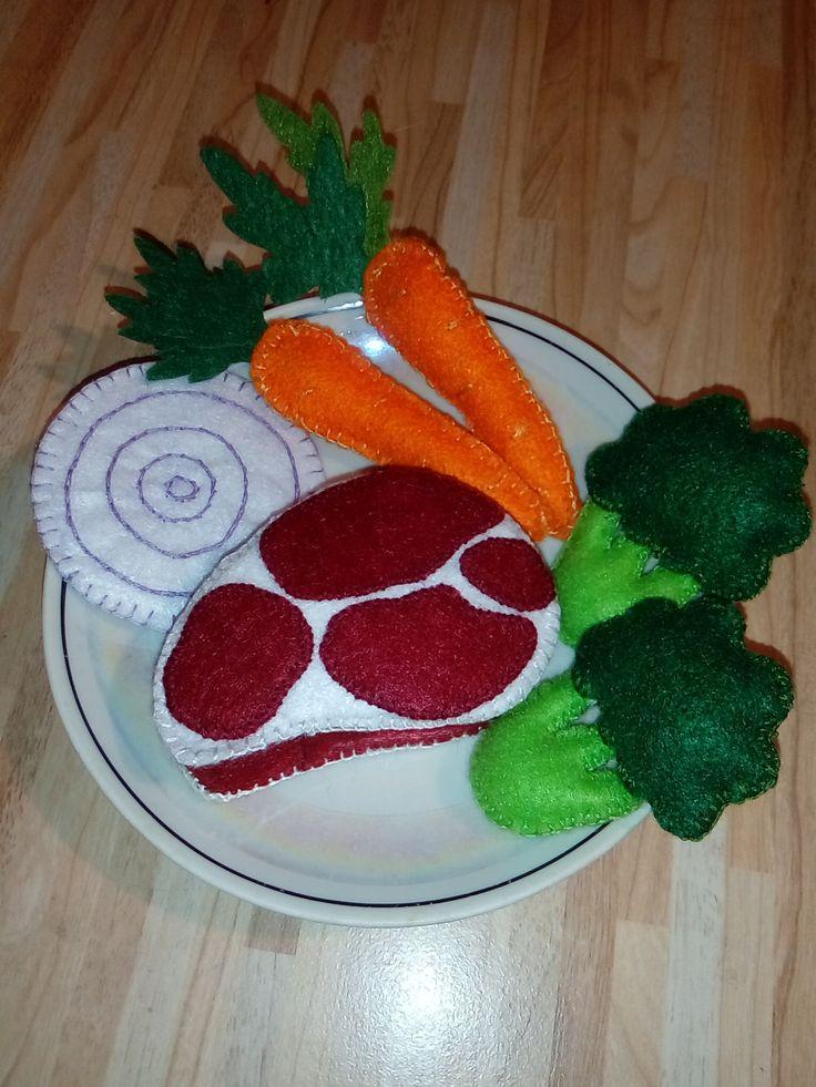 Набор еды из фетра: стейк, морковь, брокколи, лук фиолетовый #Едаизфетра, #ЕдаизфетраАлена