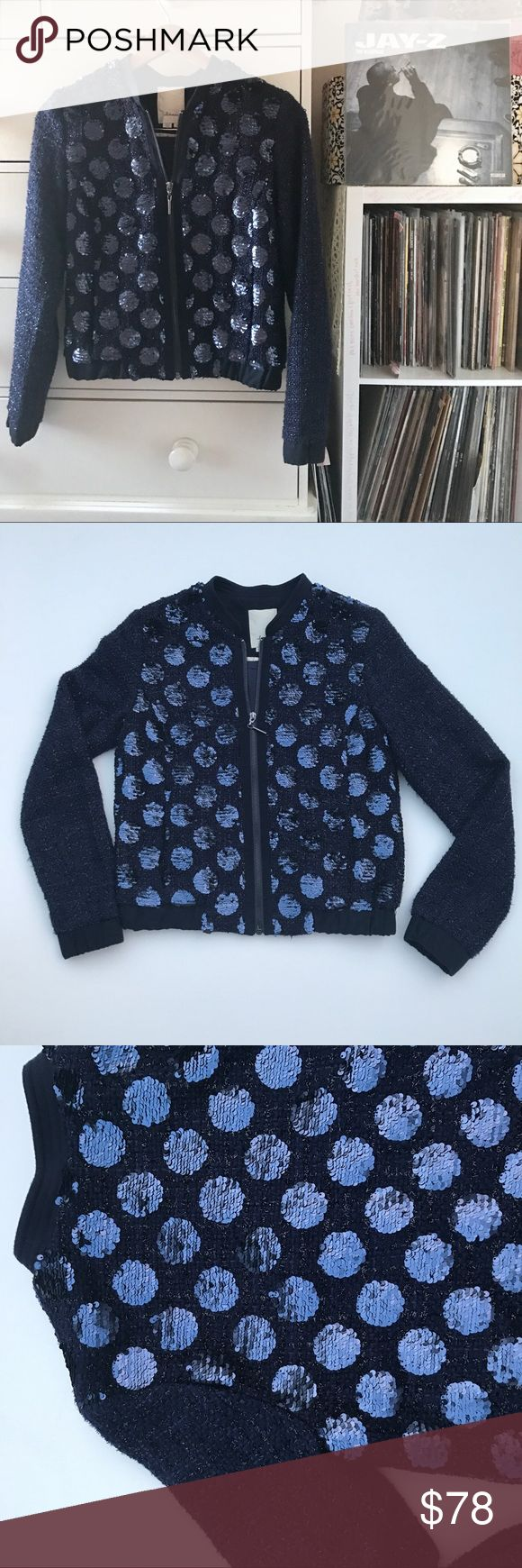 "Anthro Sequin Bomber Jacket Anthropologie  Eleveness  Sequin Bomber Jacket Full zip Side pockets  Glitter sparkle metallic thread sleeves  Navy blue round polka dot body   Size xs Measurements laying flat  Bust 18.5"" Waist 18"" Hip 16"" Total Length 21"" Excellent + preowned condition 8.4/10 I 💜offers  Pg23mon2.1 Anthropologie Jackets & Coats Utility Jackets"