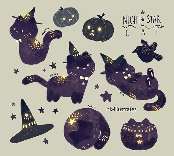 """nk-illustrates: """"Night Star Cat, Cat-O-Lanterns, and Ghost Cats. """""""