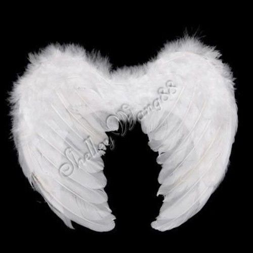 Baby Kids Angel Costume White Feather Wings Fairy Photography Props Small