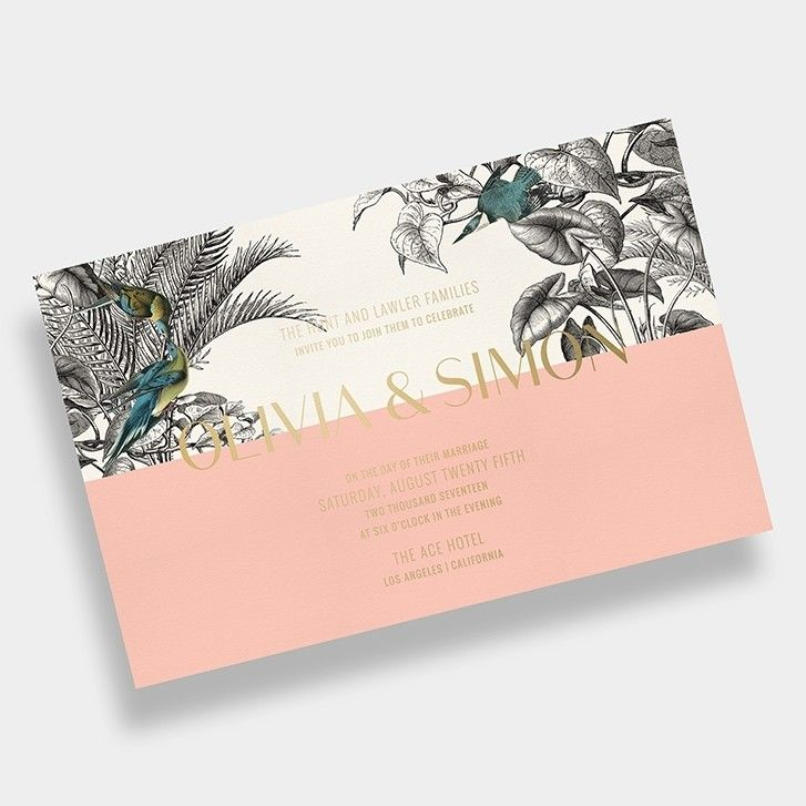 Tropical Wedding Invitation / Palms / Black + White / Peach + Gold Foil / Editorial / Modern / Customizable / Design Your Own / #myownblissandbone