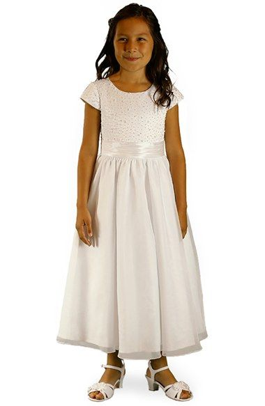 Lauren Marie Beaded Lace Bodice First Communion Dress (Little ...