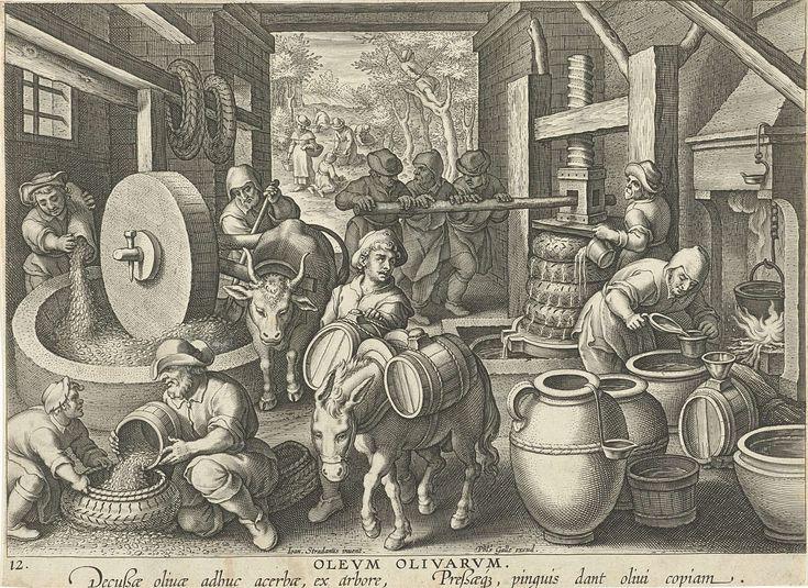 Philips Galle | Olijfpers, Philips Galle, c. 1598 - c. 1594 | Op de voorgrond worden olijven verzameld in een pers. Vervolgens wordt er olie van geperst en wordt de olie in vaten opgeborgen. Op de achtergrond het plukken van olijven in een olijfgaard. De prent heeft een Latijns onderschrift en maakt deel uit van een negentiendelige serie over nieuwe uitvindingen en ontdekkingen.
