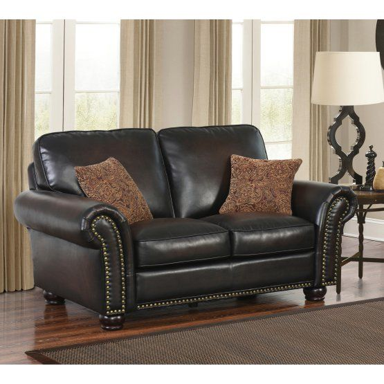 Abbyson Mac Hand Rubbed Leather Loveseat