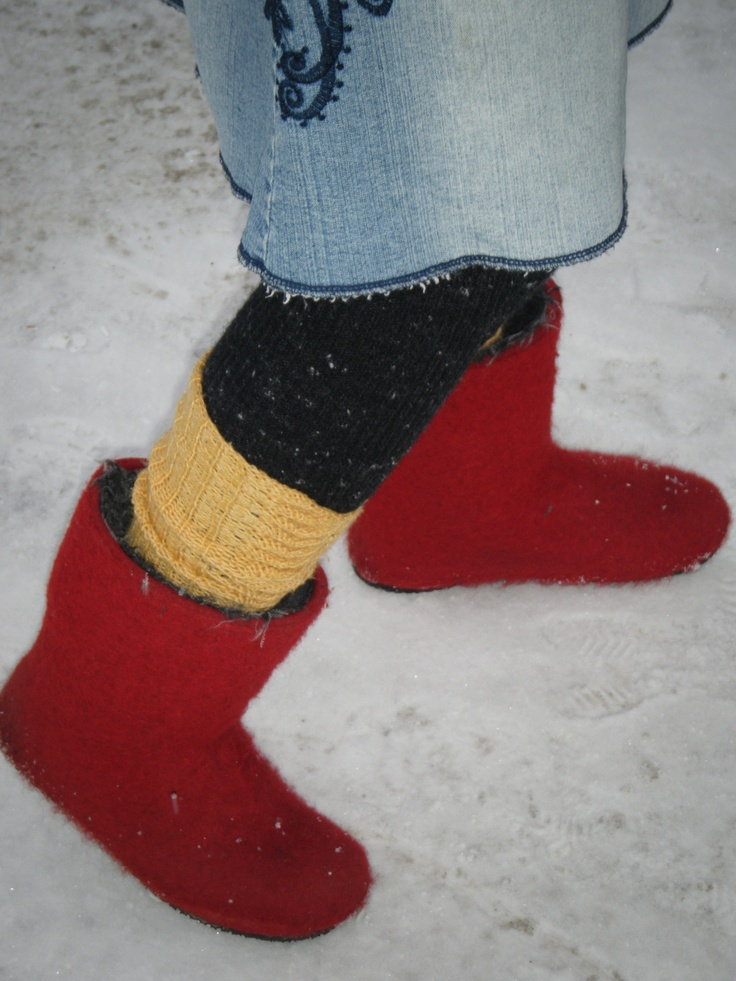 """""""Huopatossut"""" - the Finnish felt boots.Put on the Valenki boots made in Finland and you are not cold."""