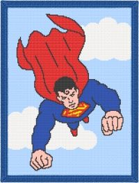 Superman Afghan Blanket Graph Crochet Pattern-- ultimate page for graph patterns for sale---