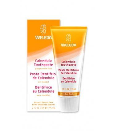 Weleda Calendula Toothpaste with gentle plant extracts and minerals. Peppermint-free, fresh-tasting fennel formula. Naturally Protect Teeth & Gums. 100% natural, fluoride free and developed in conjunction with dentists. Made with fennel for a fresh-tasting alternative to peppermint, especially for those who are using homeopathic medicines.