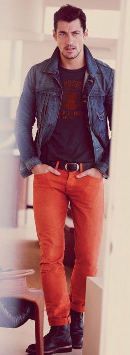 Colors Pants, Colored Pants, David Gandy, Men Fashion, Denim Jackets, Gandy Davidgandy, Men'S Fashion, Colored Denim, Colors Denim