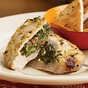 Making this tonight!  25 Healthy Pork Chop Recipes | Pork Chops Stuffed with Feta and Spinach | CookingLight.com