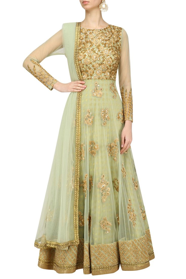 Kylee | Mint Green Floral Embroidered Anarkali Set
