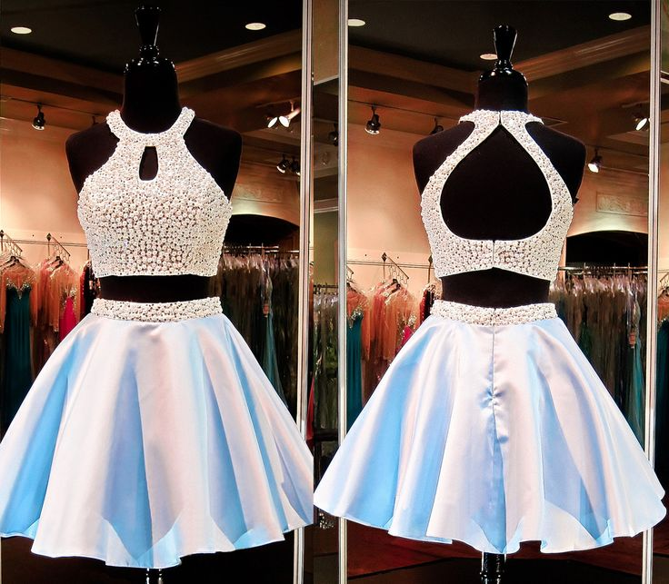 short homecoming dress, two piece prom dress
