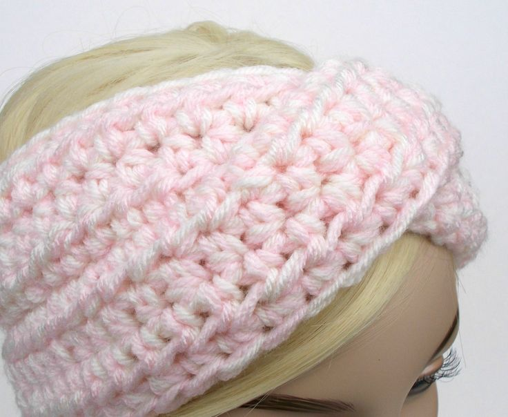 Turban Headband, Crochet Headband, Baby Pink Headband, Winter Headband, Ear Warmer Headband, Womens Headband, Knit Turban Headband by foreverandrea on Etsy