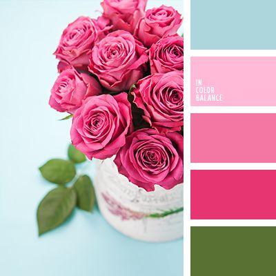 celeste, celeste contrastante, color de las rosas, color rosa rosada, color verde hoja, elección del color, frambuesa, paleta de colores para interiores, rosado pálido, rosado vivo, tonos rosados, verde.