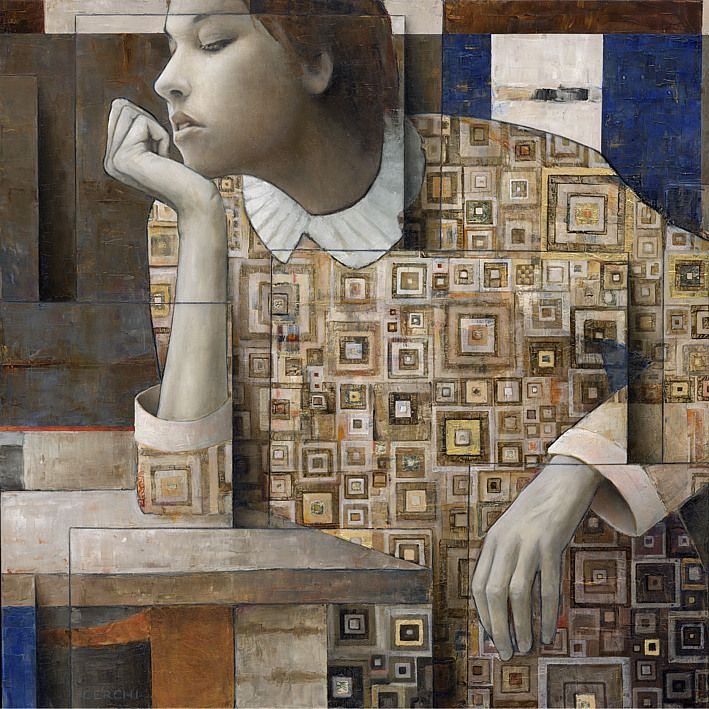 Sergio Cerchi, Paintings. Paintings by Italian artist Sergio Cerchi that use square panels for texture. Sergio's work is also often moves back and forth between extreme realism and dreamy, Klimt-like...